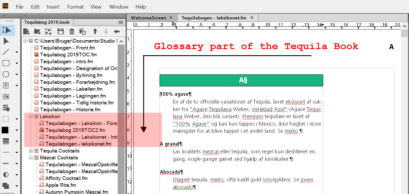 The Tequila Book in Adobe FrameMaker